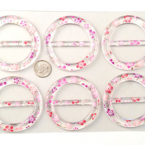 Accessories - 6 pc T-Shirt Clip Scarf Ring Floral Round Slide